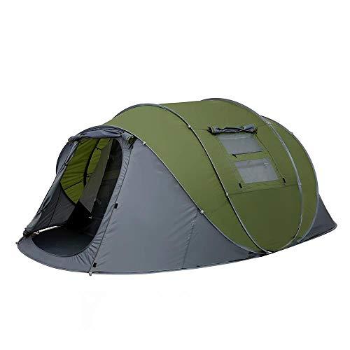 AORR Jeter la Tente Pop-up 5-6 Personnes tentes automatiques extérieures Double Couches Grande Famille Tente étanche Tente de randonnée de Camping, Double 4-6p, Vert