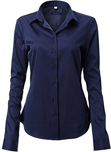 FLY HAWK Damen Hemd Bluse Basic Bambusfaser Hemdbluse Slim Fit Arbeitshemden Langarm Stretch Hemden Freizeit Business Elegant Hemd Größe 34 bis 52,Dunkelblau,42 (UK 14)