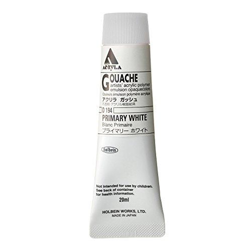 Holbein Acryla Gouache Artists Acrylic Polymer Emulsion, 20ml Primary White (D194)