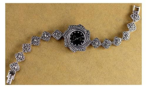 CHXISHOP Reloj de pulsera de cuarzo con incrustaciones de diamante reloj de moda retro reloj clásico reloj gótico negro - 19cm