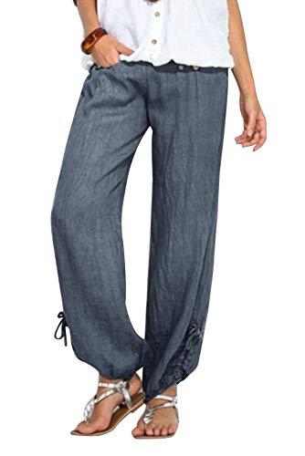 Pantalones Mujer Hombre Verano Casuales Talla Grande Deportivos Pantalon con Botones y Bolisllos Jogging Pantalon Fitness Suelto Pantalones Largos Pantalones Ropa para Pilates Running Gym Pijama