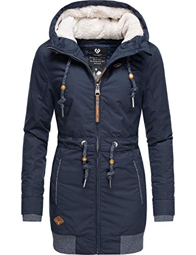Ragwear Damen Winterjacke Kurzmantel Parka mit Kapuze Zirrcon Blau Gr. XL