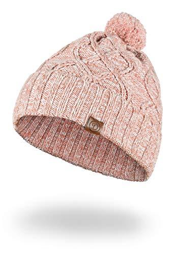 DESIRES Pom Damen Wintermütze Beanie Mütze Aus 100% Baumwolle Grobstrick mit Bommel, Größe:ONE Size, Farbe:Powder Rose Mel (5178M)
