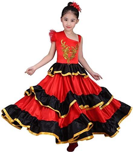 LOLANTA Costume de Danse du Ventre Flamenco Rouge Espagnol pour Les Femmes Attacher Le Tournesol