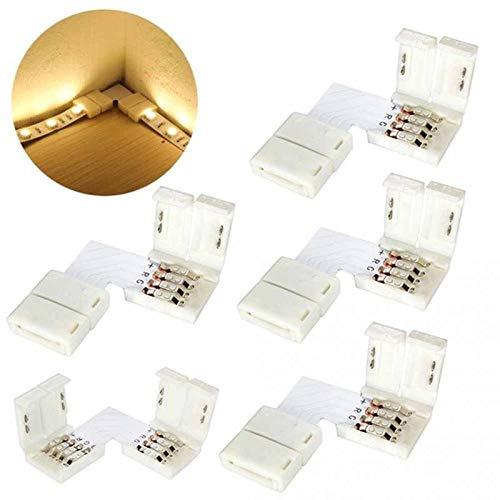 MXBIN 5pcs 5050 10mm L-Form-Anschluss RGB LED-Streifen 90 Grad Eckverbinder 4-Pin Hardware-Reparaturwerkzeuge