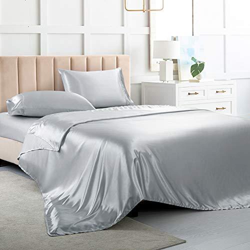 Satin Sheets King, Soft Silk Bed Sheets, Silver Grey Silk Sheet with 1 Deep Pocket Fitted Sheet & 1 Flat Sheet & 2 Silky...
