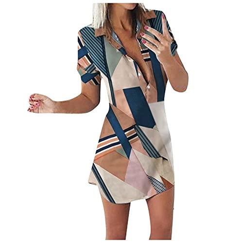 BAIGEE Kleider Damen Blusenkleid Elegant Sommerkleider Damen Minikleid Strandkleider 1/2 Ärmel Hemdkleid Kurze Bluse Shirt mit Knöpfe
