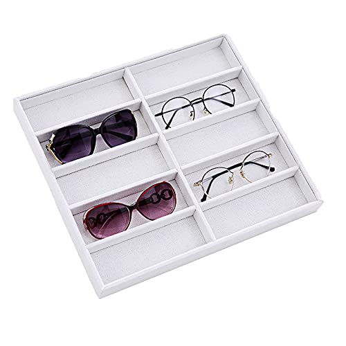 Sunglasses Storage Box, Compartments Eyeglasses Display Case Holder - Eye Glasses Storage Stand - Eyewear Tray Stand - Jewelry Case Organizer with Lid Suede Inside-white