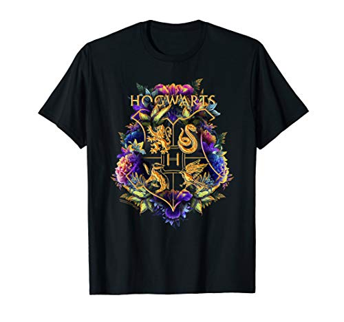 Harry Potter Hogwarts Multi-Colored Floral Crest T-Shirt