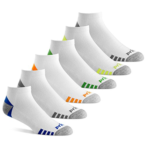 Prince Men's Low Cut Performance Socks for Running, Tennis, and Casual Use (6 Pair Pack) (Men's Shoe Size 12-16 (US), White)
