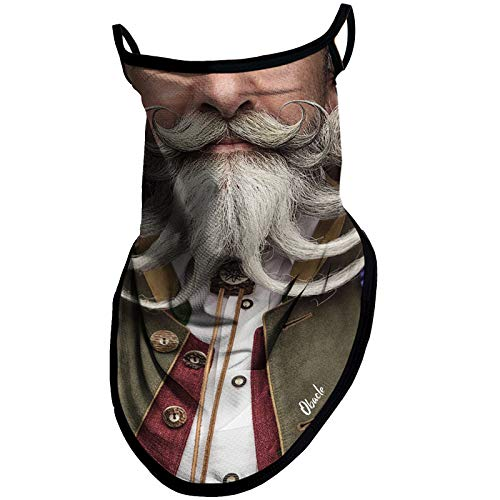 Obacle Bandana Face Mask with Ear Loops Neck Gaiter Face Mask Scarf Face Cover for Men Women (Men with Multi White Beards)