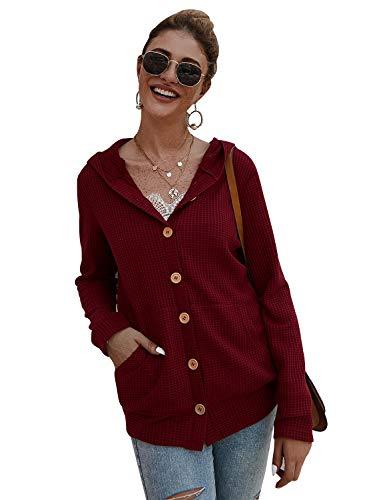 Gardenwed Damen Kapuzenpullover Lange Kapuzenpullis Beiläufiger Taschen Hoodie Pullover Rot leichte Sommerjacke Burgundy M
