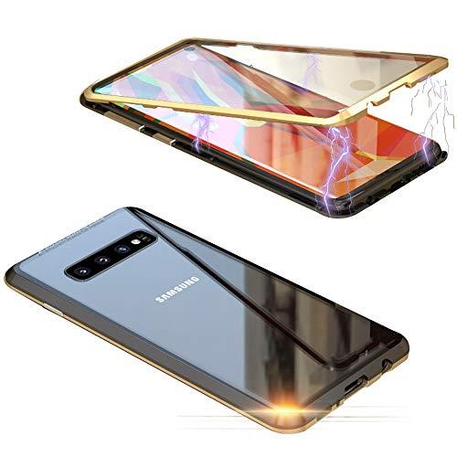 Jonwelsy - Custodia per Samsung Galaxy S10 (6,1 pollici), 360 gradi, anteriore e posteriore, in vetro temperato trasparente, con forte tecnologia di assorbimento magnetica in metallo, Dorato / Nero