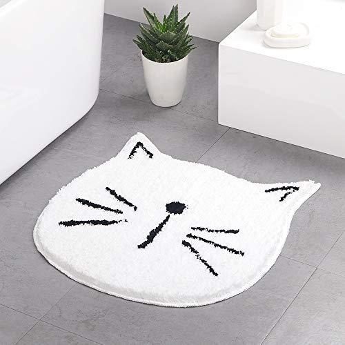 LAOSHIZI Alfombrillas de baño Dibujos Animados Gato Absorbente Antideslizante Suave Sala Entrada Alfombra Blanco