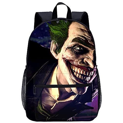 QULONG Batman: Arkham Origins The Joker Mochila Mochila escolar adolescente impresa en 3D Mochila informal Mochilas de viaje ligeras Mochila escolar Mochilas ligeras Mochila de moda