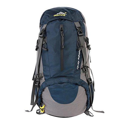 Wuiyepo 50L (45 + 5) Randonnée Sac à dos Daypack Imperméable Outdoor Sport Camping Pêche Voyage Escalade Alpinisme Cyclisme (bleu)