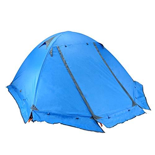 TRIWONDER Tienda de Campaña 1/2/3 Personas Impermeable Ligera 4 Estaciones Doble Capa Carpa para Acampar Playa Exterior Senderismo Viaje (Azul - con Borde Falda - 2 Personas)