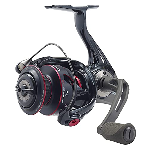 Quantum Smoke Spinning Fishing Reel, Size 30 Reel, Changeable Right- or Left-Hand Retrieve, Continuous Anti-Reverse Clutch with NiTi Indestructible Bail, SCR Alloy Frame, Black