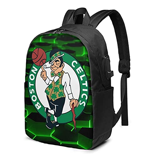 Boston Basketball Cel-tics Laptop Backpack with USB Charging Port Men and Women Backpack Laptop Backpack College School Backpack Business Trip Out Big School Bag