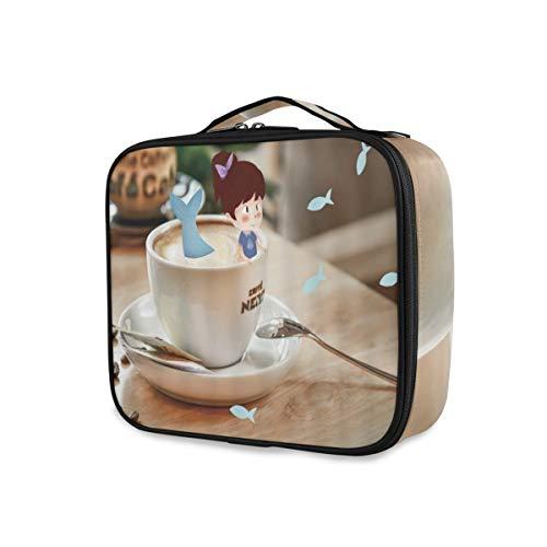 SUGARHE Fantasie Kaffeetasse kleines Mädchen Meerjungfrau Schwanz im Porzellan modernen Haus Schreibtisch kreativer Art Design,Kosmetik Reise Kulturbeutel Täschchen mit Reißverschluss