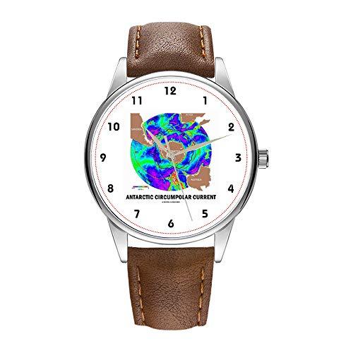 Herrenuhr braune Cortex Quarz-Uhr für Männer berühmte Armbanduhr Quarzuhr für Geschäftsgeschenk Antarctic Circumpolar Current (Ocean Current Map) Uhren