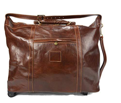 Borsone viaggio con ruote uomo donna trolley pelle morbido borsa viaggio manici tracolla vera pelle marrone borsa cabina pelle borsa sport