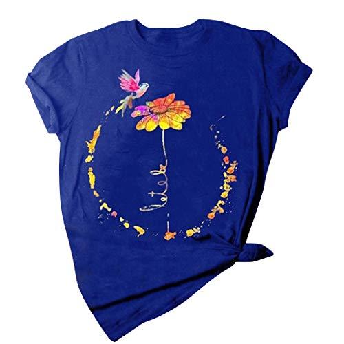Kolibri Grafik Shirt für Frauen Kurzarm Rundhals T-Shirt Plus Size Blumendruck Casual Loose Fit Bluse Tops Gr. Large, blau