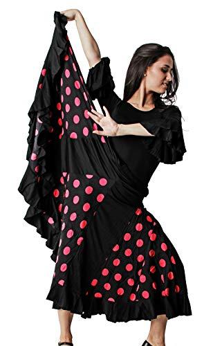 Gojoy shop- Traje Profesional de Baile Danza Flamenco o Sevillanas para Mujer de 2 Piezas (Contiene Body con Doble Volantes en Manga y Falda de Lunares 6 Colores Disponibles) (S, Rosa)