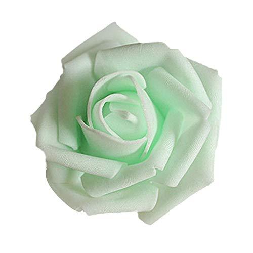 50er-Set Schaumrosen Künstliche Foam Rose Blumen Brautstrauß Hochzeit Haus Dekoration - Hell Grün, 6-7cm