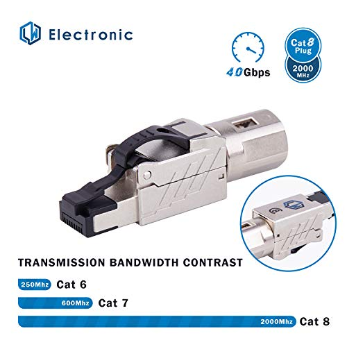 LW Electronic Netzwerkstecker 50µ Vergoldung RJ45 LAN Kabel CAT 8 geschirmt 25GBase-T / 40GBase-T 2000 MHz Ethernet werkzeuglos für Cat8 Netzwerkkabel Verlegekabel