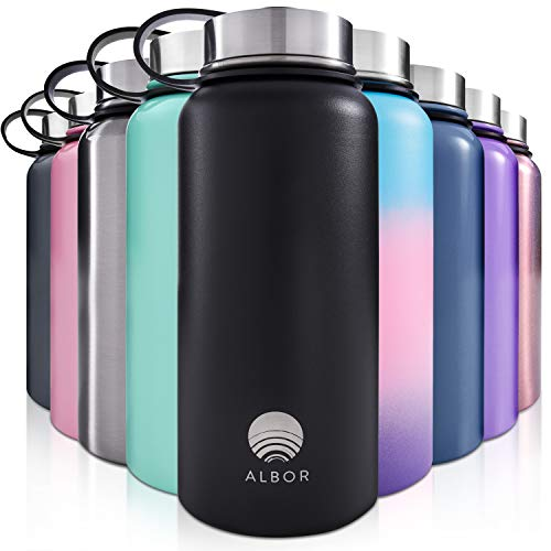 ALBOR Insulated Water Bottle with Straw - 32 Oz Water Bottle Stainless Steel Water Bottle with Straw - Metal Water Bottle with Straw Water Flask Water Bottle Insulated Water Bottle 32 Oz Black