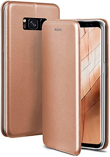 ONEFLOW Handyhülle kompatibel mit Samsung Galaxy S8 - Hülle klappbar, Handytasche mit Kartenfach, Flip Hülle Call Funktion, Leder Optik Klapphülle mit Silikon Bumper, Rosegold