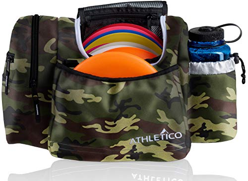 Athletico Disc Golf Bag - Tote Bag for Frisbee Golf - Holds 10-14 Discs, Water Bottle, and Accessories (Green Camo)
