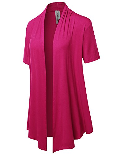 Solid Jersey Knit Draped Open Front Short Sleeves Cardigan Hot Pink S