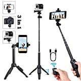 Yunteng Portable 40 Inch Universal Selfie Stick, Selfie Stick Tripod with Wireless Remote, Extendable Mini Aluminum Alloy Handheld Monopod Phone Tripod Compatible with iPhone Samsung DSLR GoPro