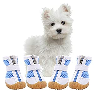 AOFITEE Mesh Dog Shoes Pet Boots, Breathable Dog Shoes for Small Doggy, Waterproof Pet Sandals with Anti-Slip Sole and Zipper Closure, Durable Pet Paw Protector for Hot Pavement