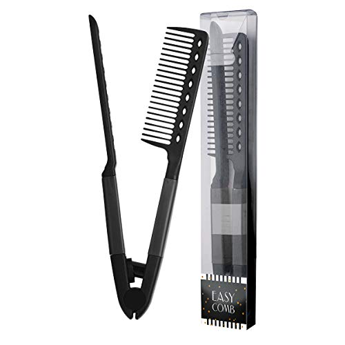 Herstyler Comb For Straightening Hair - Hair Styling Comb For Great Tresses - Flat Iron Comb With A Firm Grip - Straightening Comb For Knotty Hair - Flat Iron Heat Resistant Comb - Get wooed (Black)