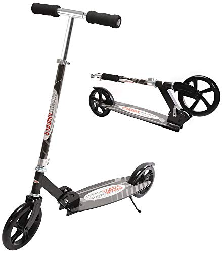 ChromeWheels Kick Scooter, Deluxe 8' Large 2-Wheels Wide Deck 5 Adjustable Height with Kickstand Foldable Freestyle Pro Scooters, Best Gift for Age 6 up Kids Girls Boys Teens, 200lb Weight Limit,Black