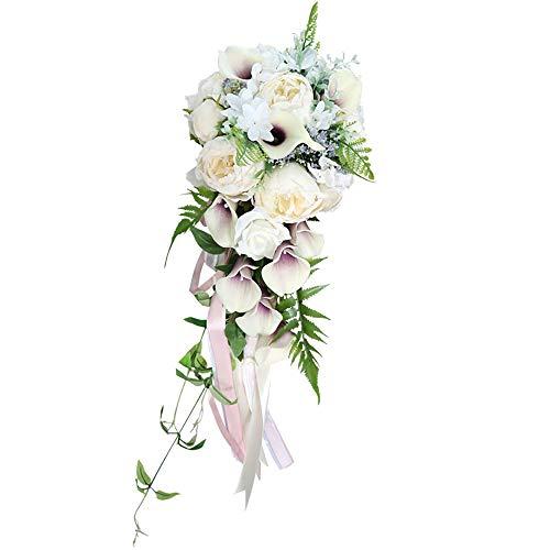 Hochzeitsblumen Schöne verheiratete Braut Holding Blumen Tropfen Form Elfenbein weiß Calla lilien Sen Hochzeit Simulation Blume hochzeitsanordnung wunderschönen