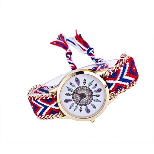 Leisial Reloj Trenzado Reloj de Pulsera Señoras Estilo étnico Reloj de Cuarzo Cuerda de Tela Tejida Decoración Accesorios de Joyería para Mujer Ajustable