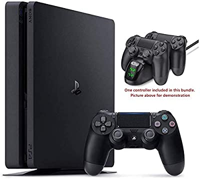 Newest Playstation 4 PS4 1TB Slim Gaming Console w/HESVAP Charging Station Dock from Hesvap