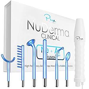 NuDerma Clinical Skin Therapy Wand - Portable High Frequency Skin Therapy Machine with 6 FUSION TECHNOLOGY Ojan Beauty Neon + Argon Wands – Anti Aging – Blemish & Spot Control – Skin Tightening & Radiance – Wrinkle Reducing