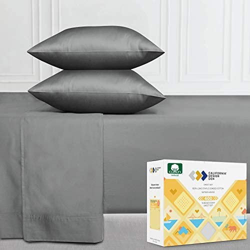 400 Thread Count 100% Pure Cotton Sheet Set, Slate Grey Queen Size, 4-Pc Long-Staple Cotton Cooling Bed Sheets, Soft & Silky Sateen Weave, Deep Pocket Fits Low Profile Foam and Tall Mattresses