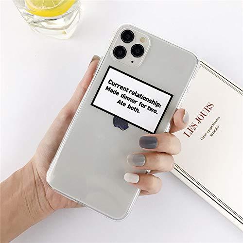 HNZZ Tmrtcgy Funda telefónica de la Etiqueta Transparente de Silicona para iPhone 12 Pro Mini 11 Pro MAX X XR XS MAX 7 8 Plus TPU Suave de TPU (Color : 8, Size : IphoneXS MAX)