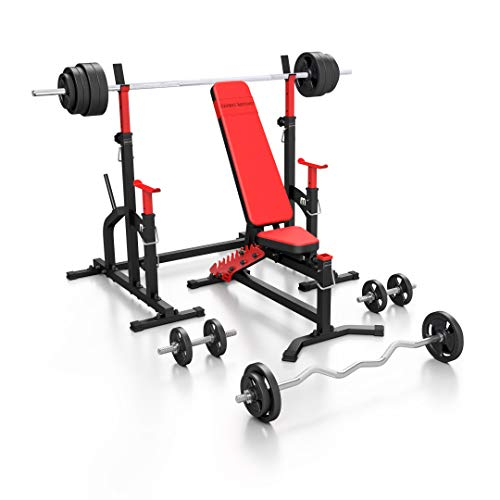 Marbo Sport Set MS11_170KG_Kier_G   banco de pesas MS-L102 + soporte para pesas (uno) MS-S104 + discos de pesas de goma de 113 kg