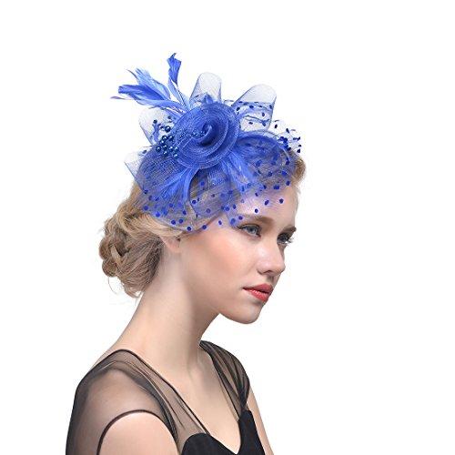Fascinador con Diadema de Plumas y Clip, Retro Sombrero Cóctel Fiesta