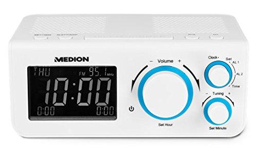 MEDION LIFE E66323 MD 4300 Radiowecker (LCD-Display, PLL UKW Uhrenradio, Nap Timer) weiß