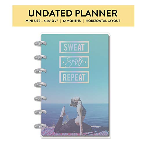 me & my BIG ideas The Happy Planner - Sweat, Smile, Repeat Theme - 12 Month Undated - Horizontal Layout - Track Meals, Exercise, Water Intake & Goals - Mini Size