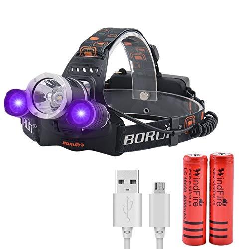 LED Stirnlampe Wiederaufladbare, UV LED Kopflampe Ultraviolettem Licht Stirnlampen, 395nm UV Blacklight Scheinwerfer für Camping, Skorpions,Katzenhunde Haustier Urin Detektor (Weiß + Lila Licht)