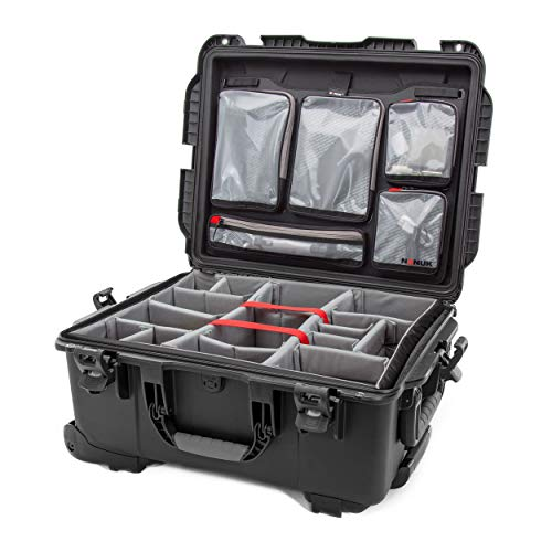 Nanuk 955 Waterproof Carry-On Hard Case with Lid Organizer and Padded Divider w/Wheels - Black